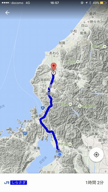米原から彦根までのルート