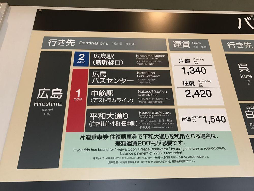 広島空港から広島駅までのバス運賃