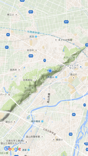 呉羽丘陵の白鳥城址の地図