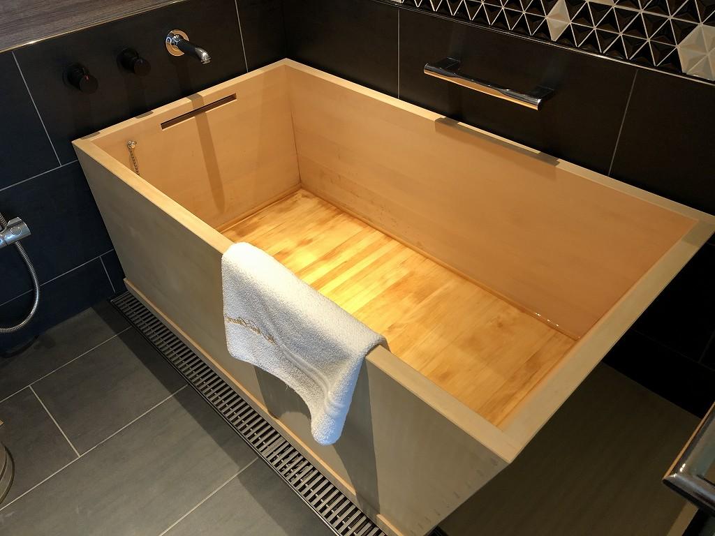ホテルニューオータニ「新江戸スタンダードダブル」の檜風呂