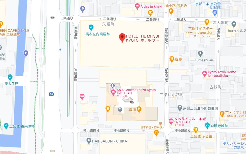 グーグルマップで見る「三井総領家の邸宅」跡地