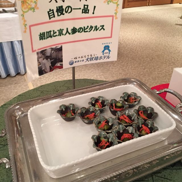 絶景の宿 犬吠埼ホテルの朝食バイキング(きゅうりと京人参のピクルス)