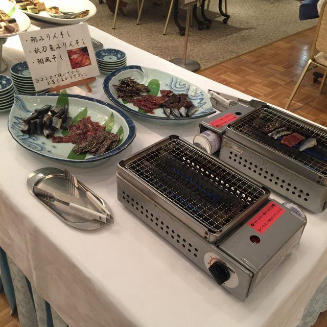 絶景の宿 犬吠埼ホテルの朝食バイキング(魚炙り器)