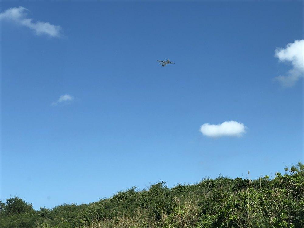 下地島空港に降り立つ飛行機