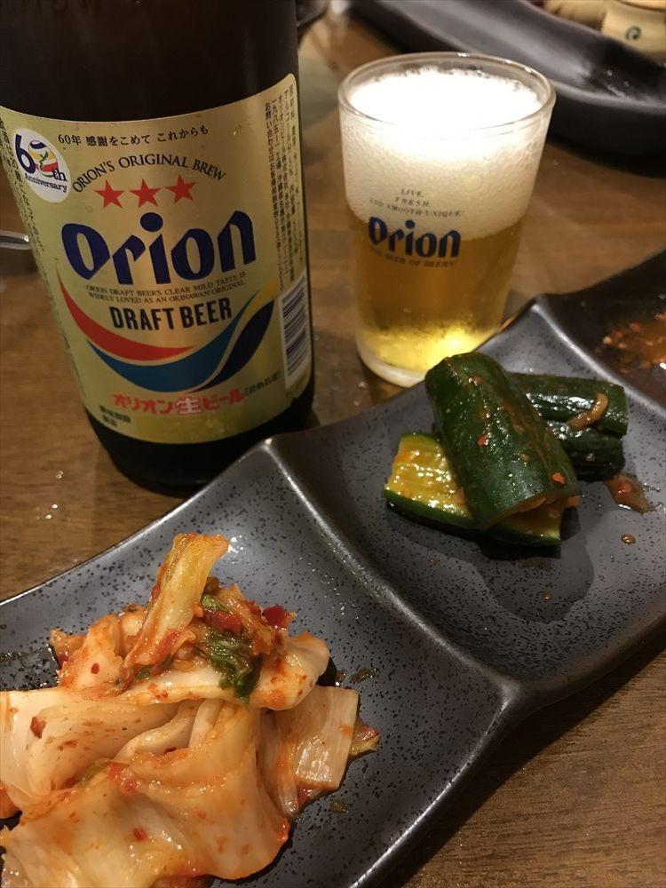 炭火焼肉やまもとのオリオンの瓶ビール