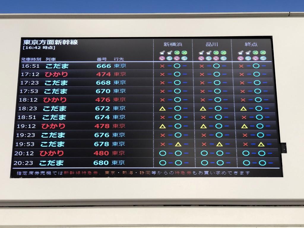浜松駅からの新幹線の空き状況