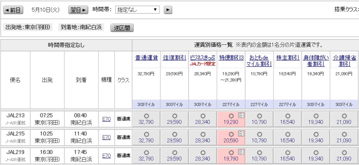 JAL215便(羽田-南紀白浜)の運賃