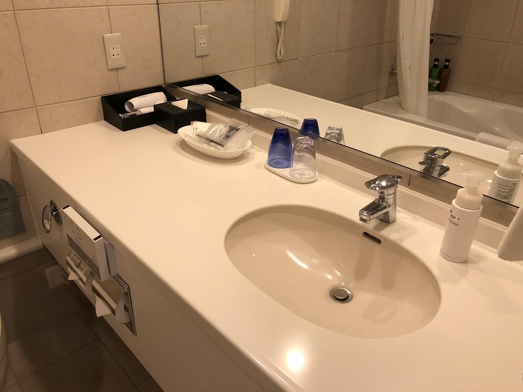 ホテルメトロポリタンのスタンダードツインの洗面台