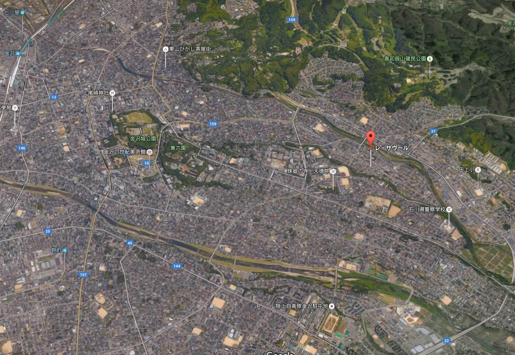 Google Earthで見た金沢中心市街地