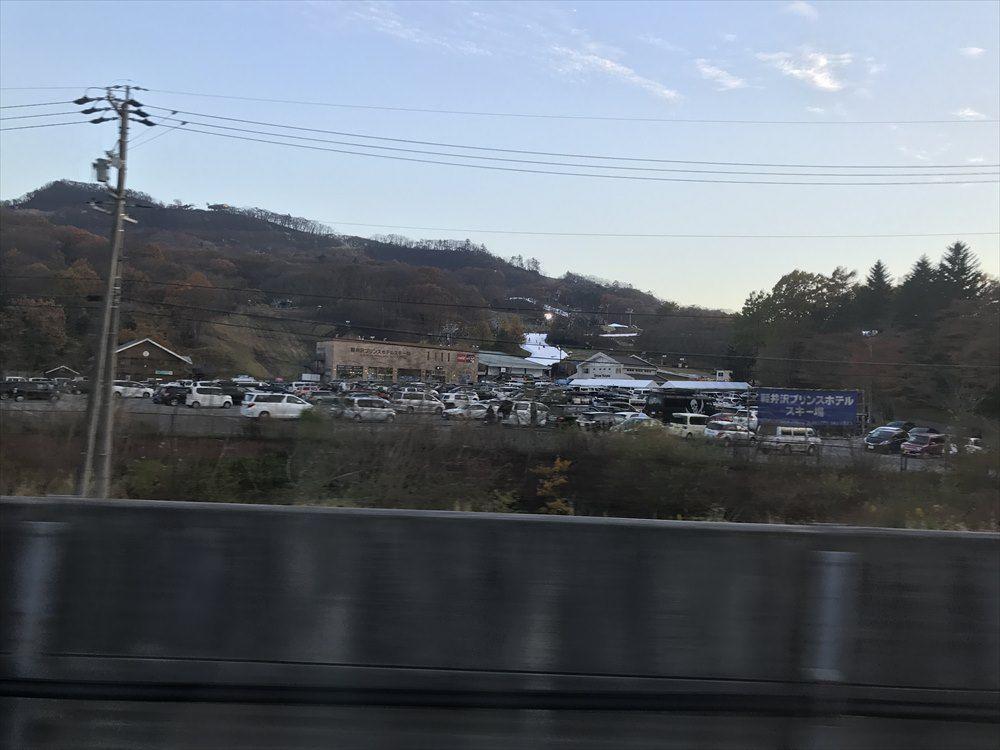 プリンスホテルスキー場に駐車された大量の車