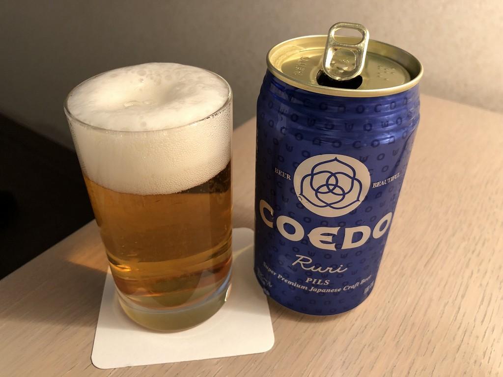 川越プリンスホテルの部屋でコエドビール