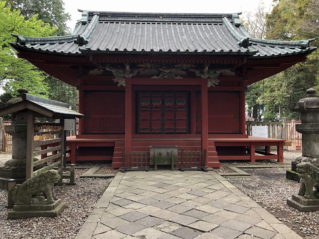 川越市内の仙波東照宮の拝殿