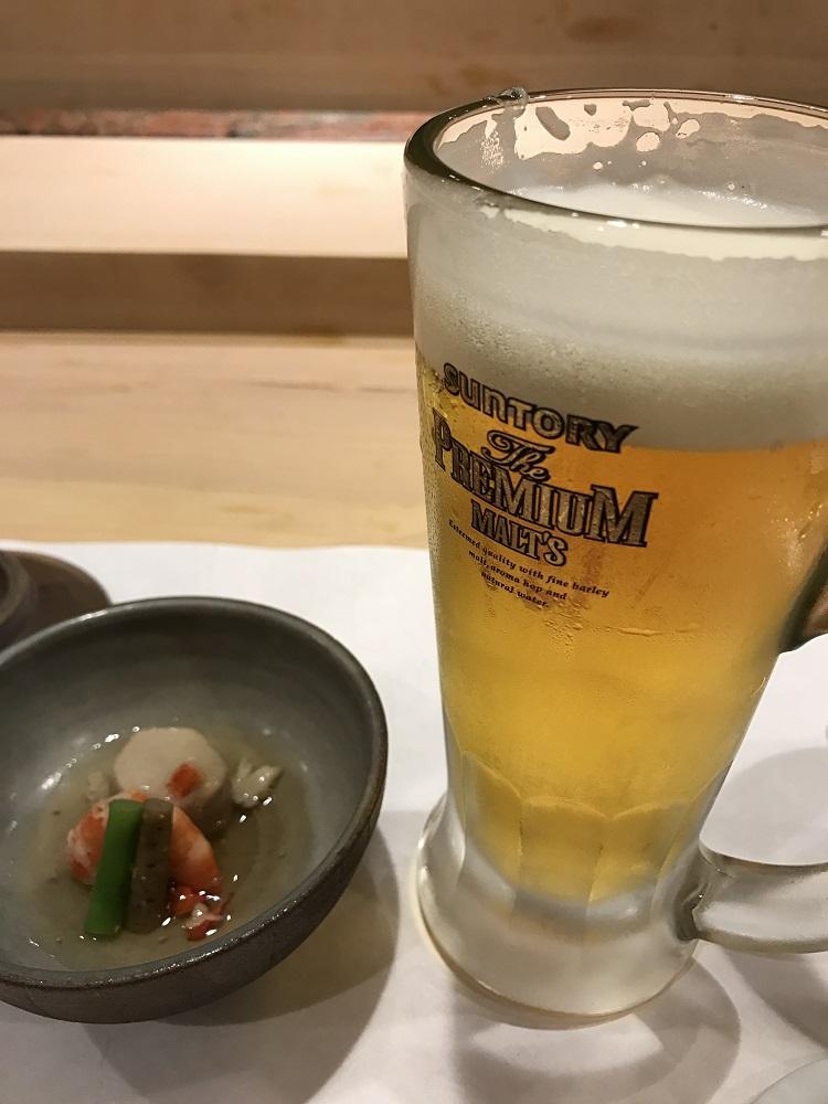 鮨一品かわじのビール
