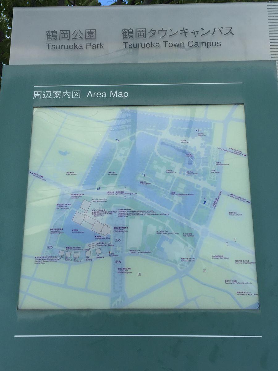 鶴岡公園・鶴岡タウンキャンパスの地図