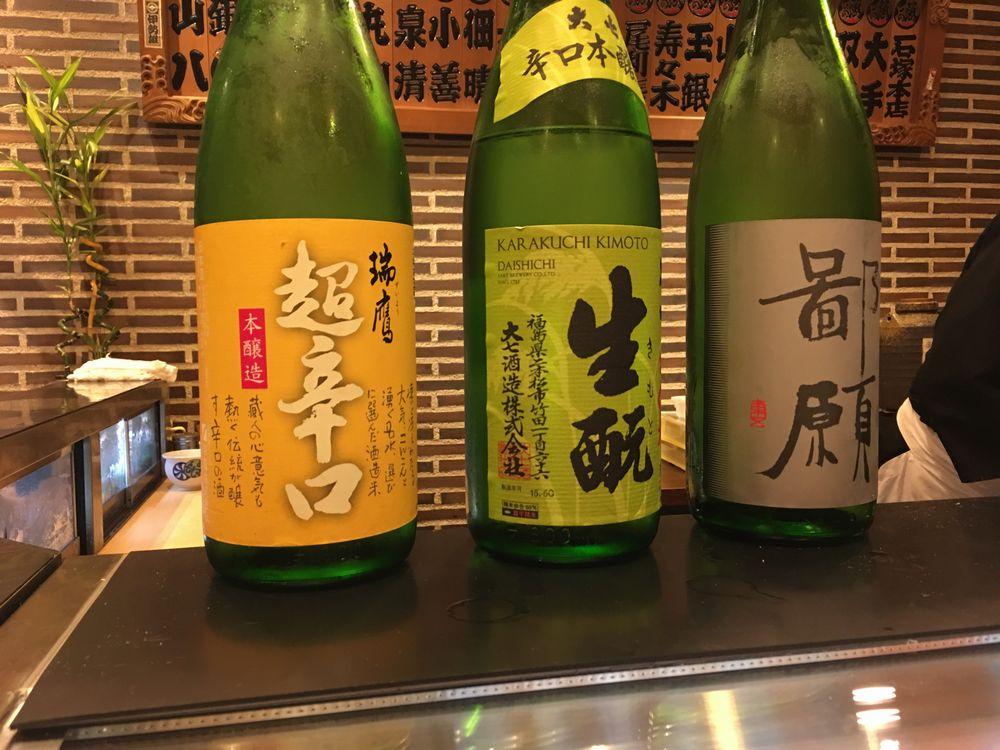熊本・金寿しの日本酒飲み比べ