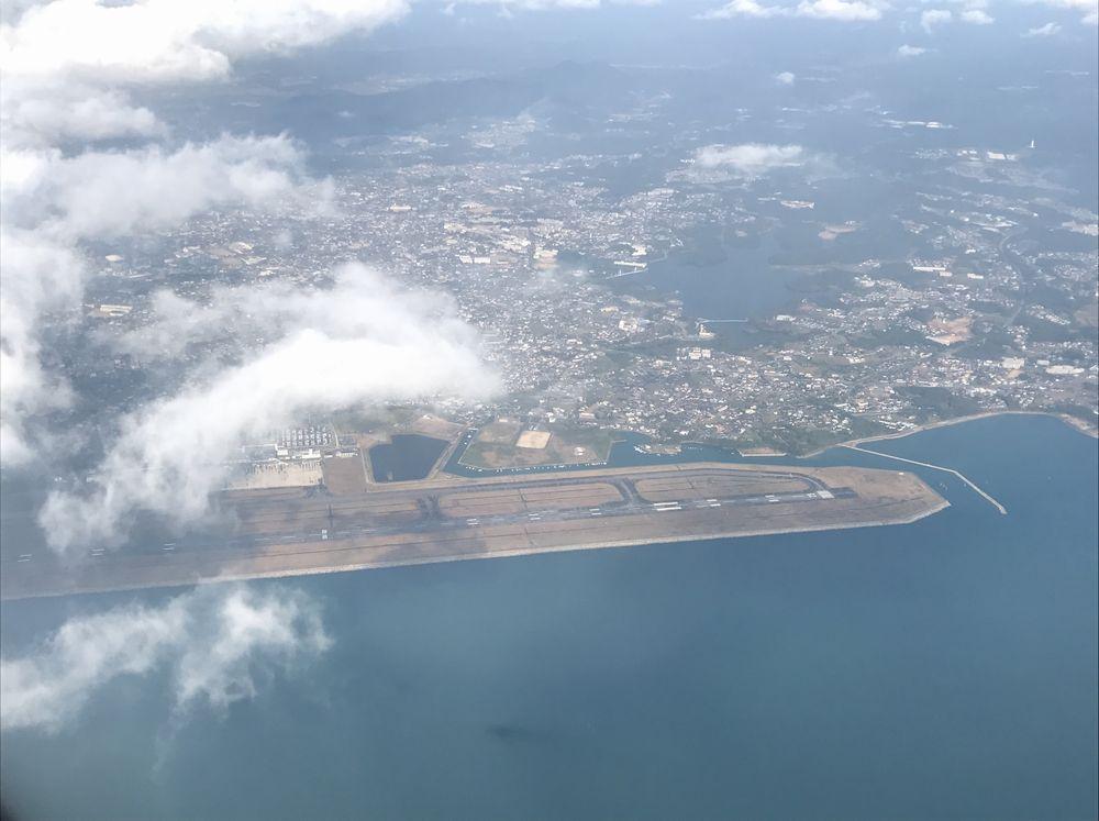 飛行機から見た宇部空港