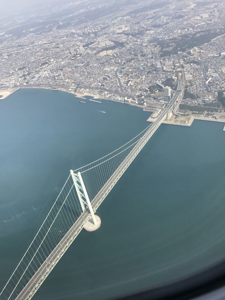 飛行機から明石海峡大橋