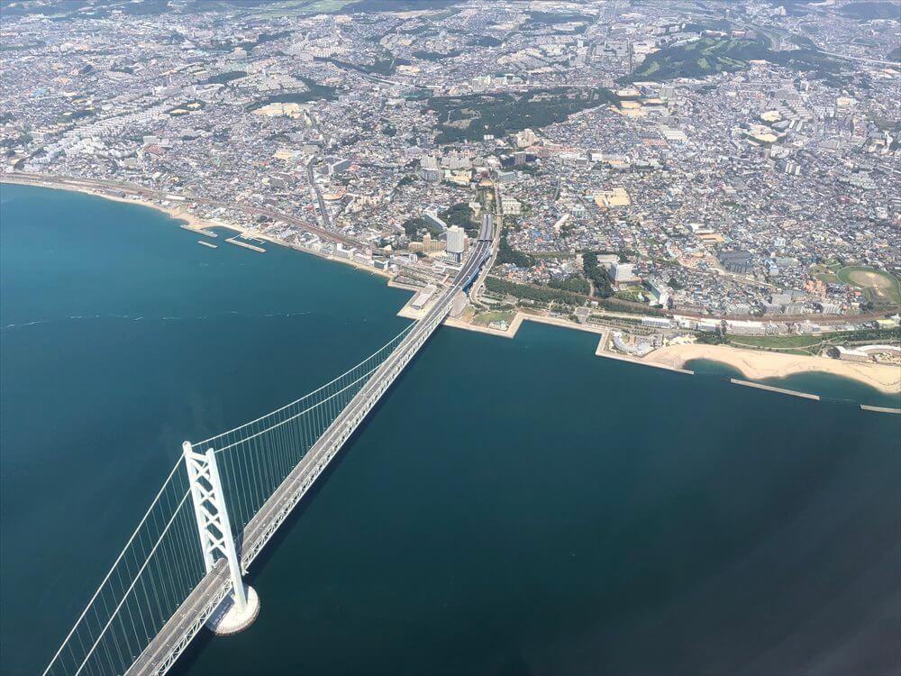 スカイマークから見た明石海峡大橋