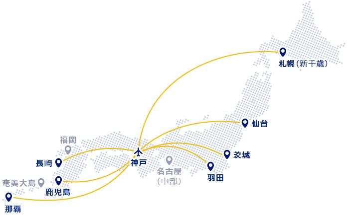 神戸空港発着のスカイマーク便