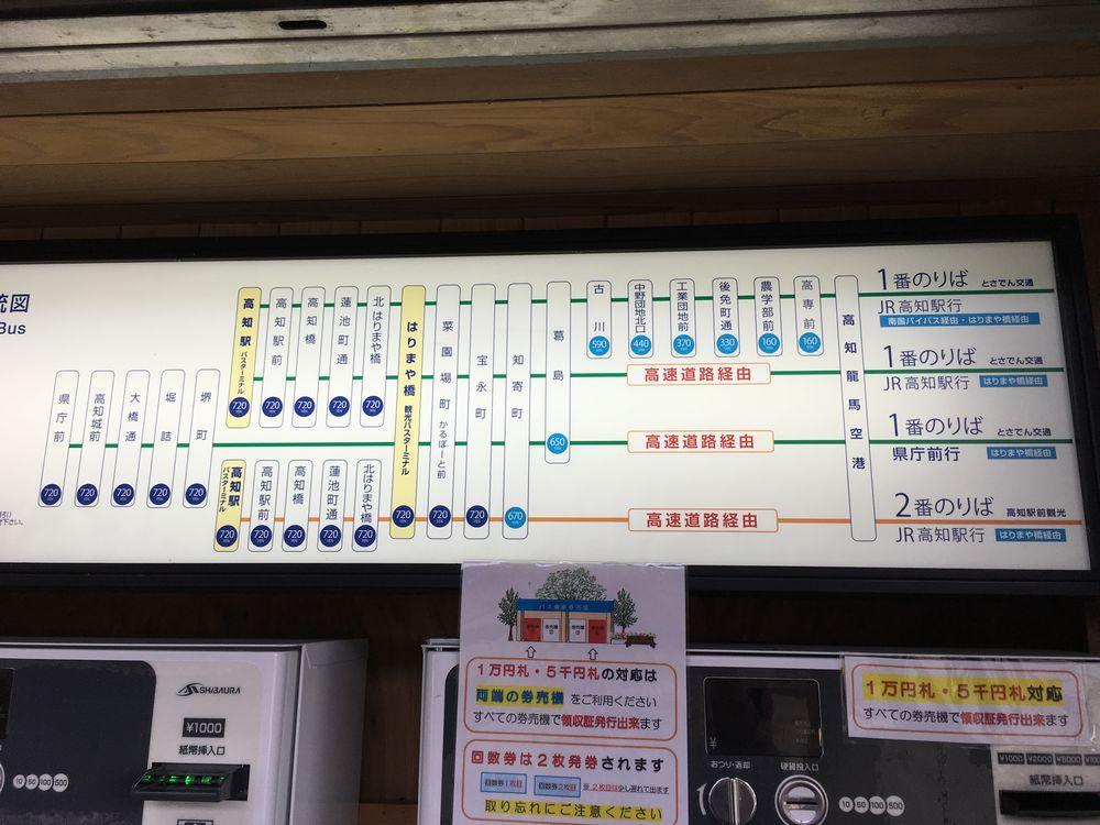 高知空港からはりまや橋・県庁前までのシャトルバスの運賃