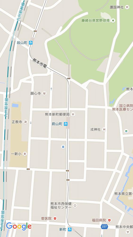 熊本市蔚山町駅のgoogle map