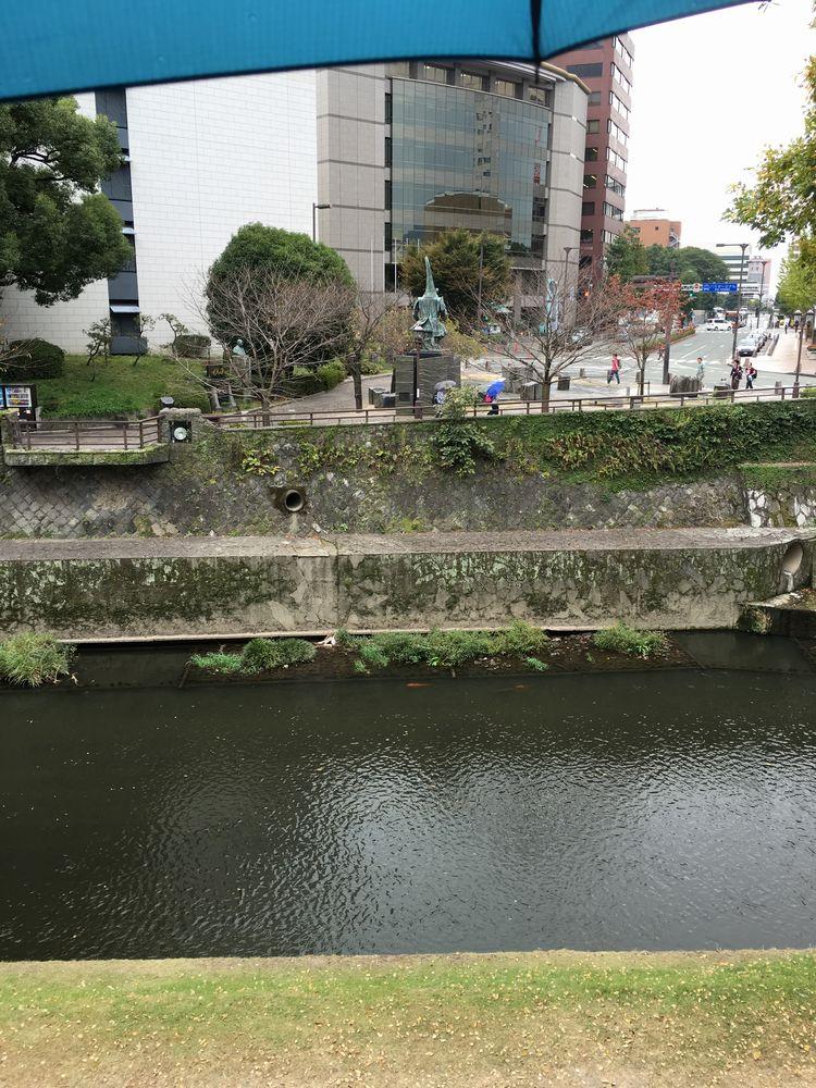 坪井川を挟んで加藤清正公像