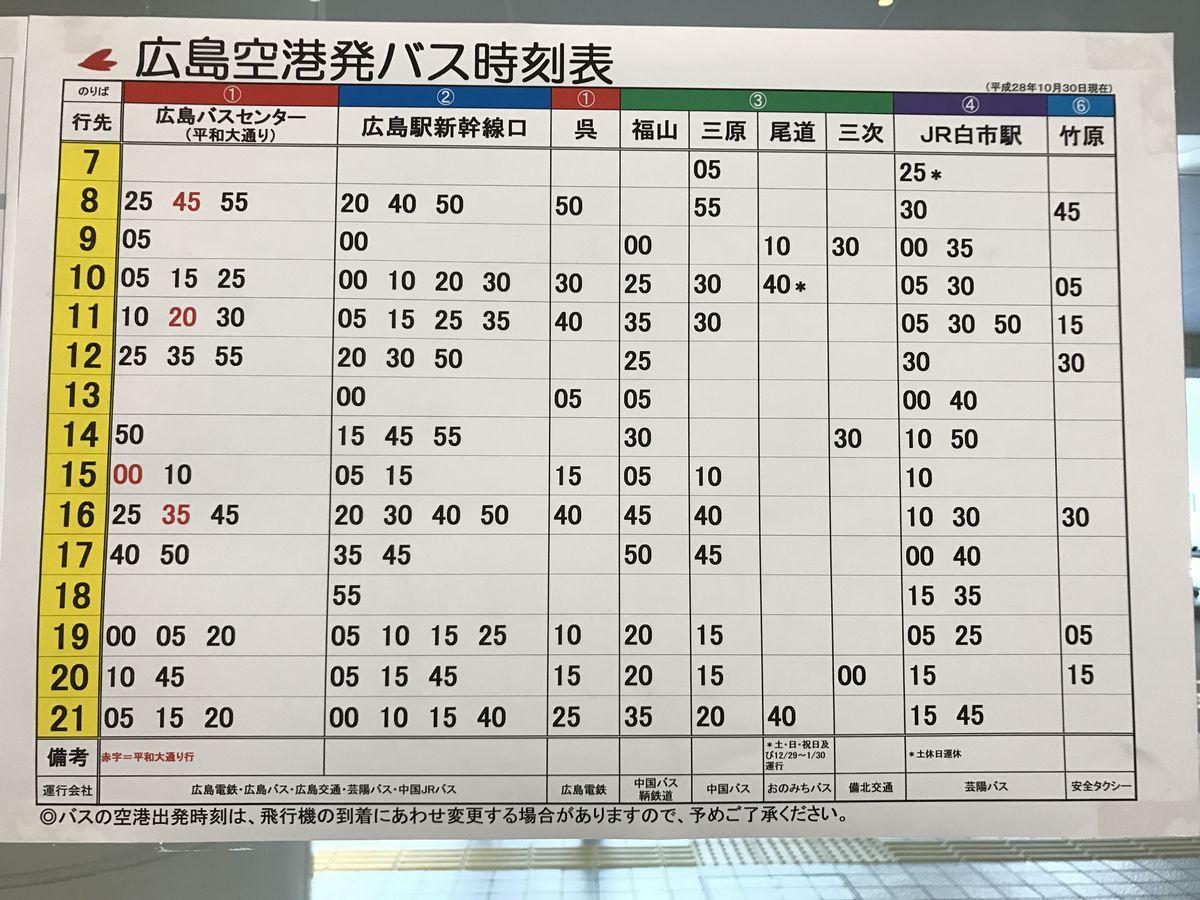 広島空港発バス時刻表