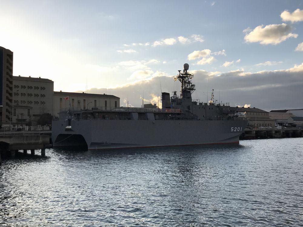 海上自衛隊呉基地の音響測定艦