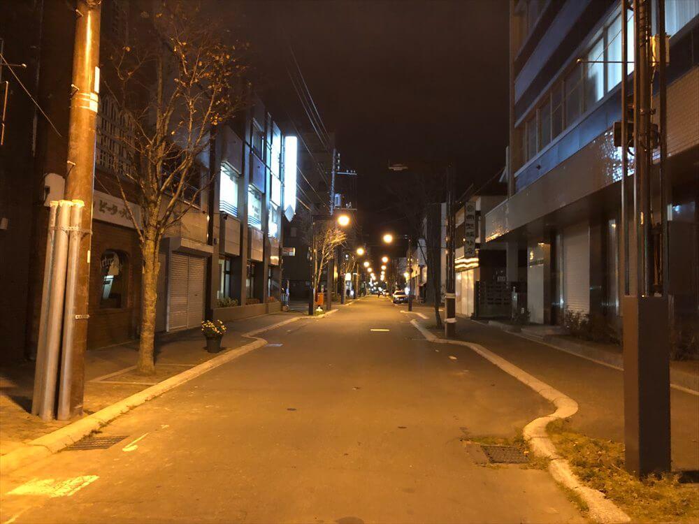 人通りのない釧路の繁華街1