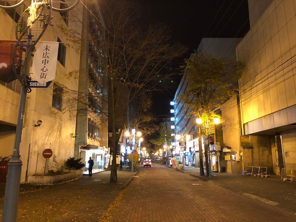 人通りのない釧路の繁華街2