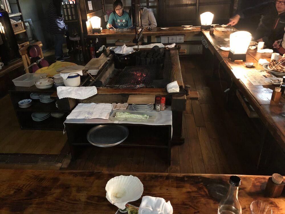 釧路の「炉ばた」の囲炉裏
