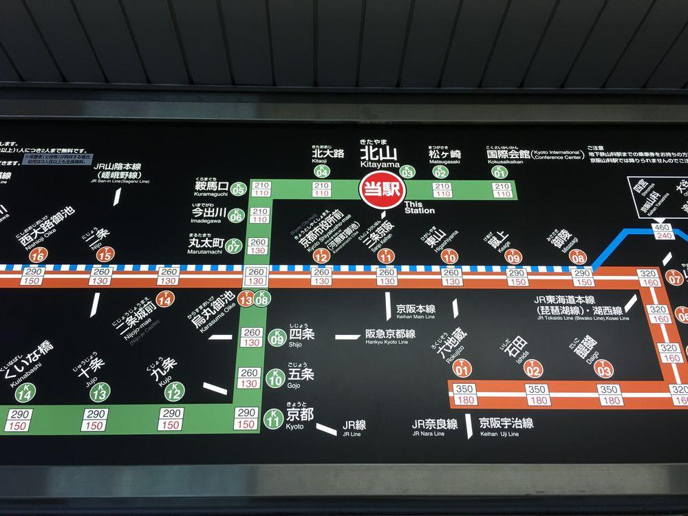 北山駅からの地下鉄烏丸線路線図