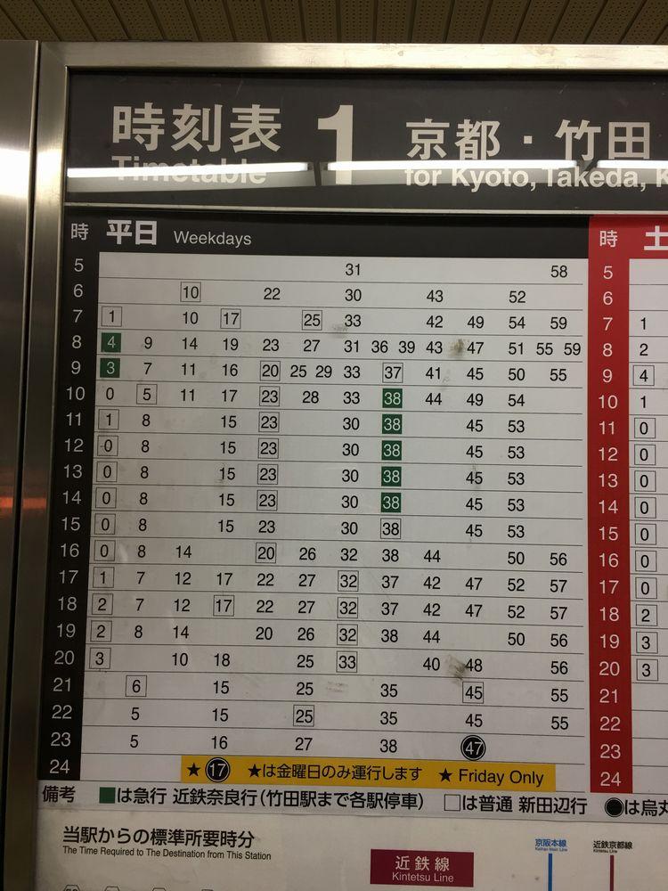 地下鉄烏丸線の時刻表