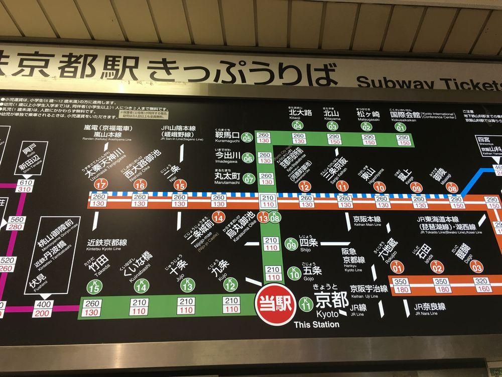 地下鉄烏丸線の路線図
