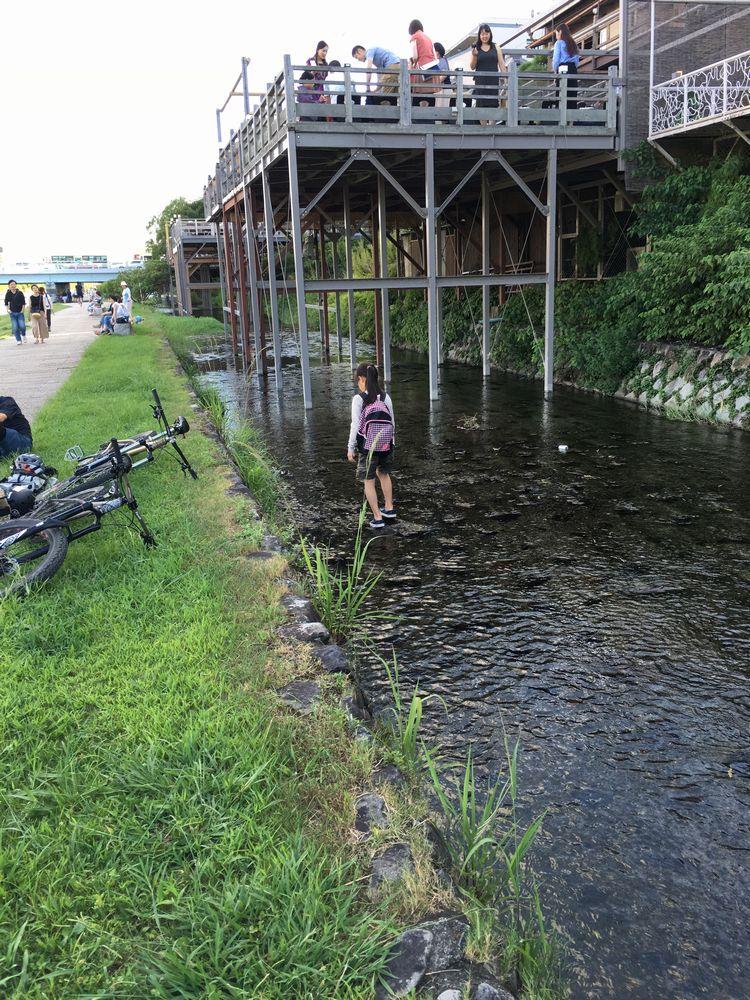 高瀬川で水遊び