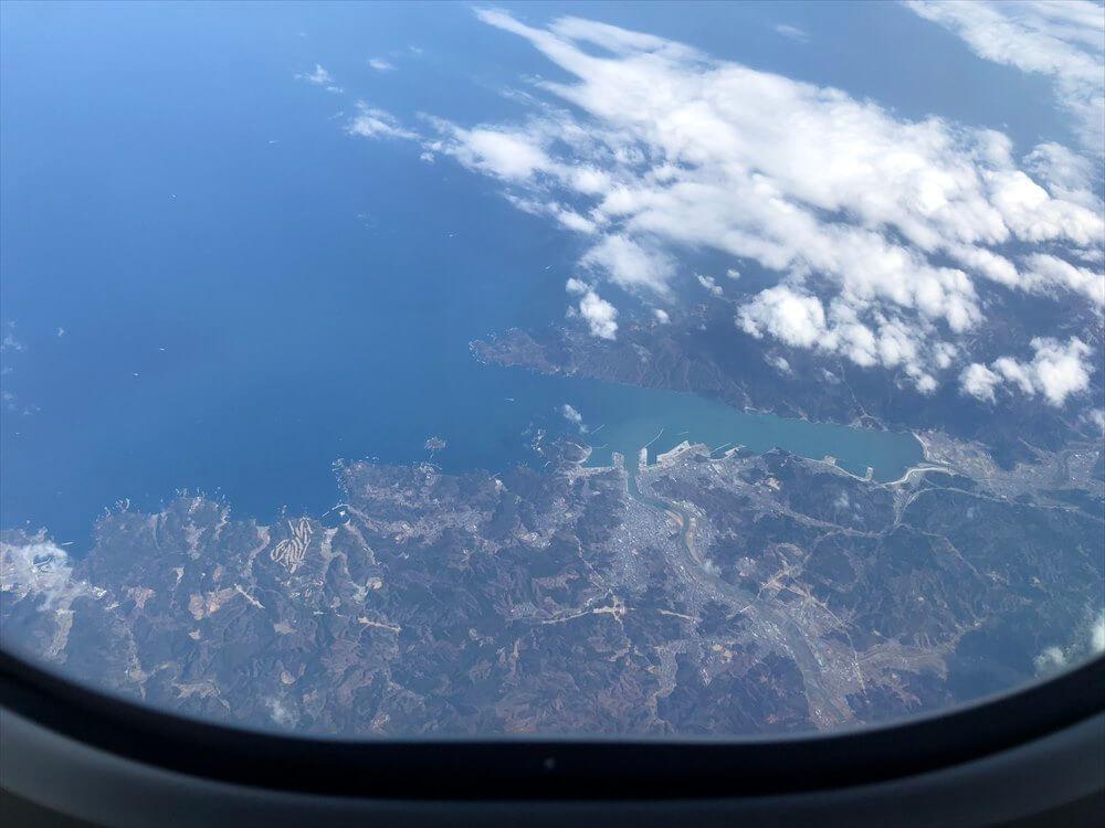 JAL567便から宮古湾