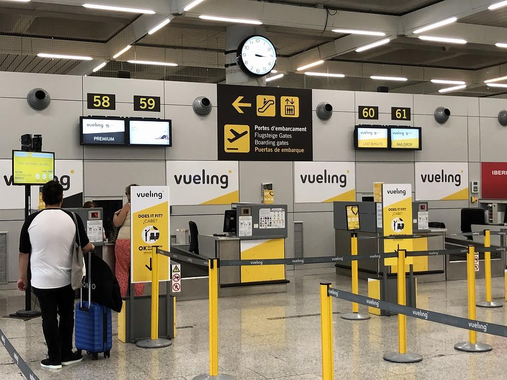 パルマ・デ・マヨルカ空港のブエリング航空のチェックインカウンター