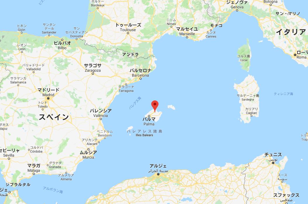 マヨルカ島の位置