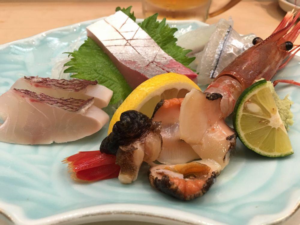 松江の呉竹鮨の刺身の盛り合わせ