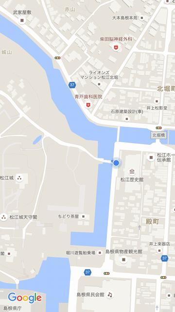 松江城の北惣門橋の位置