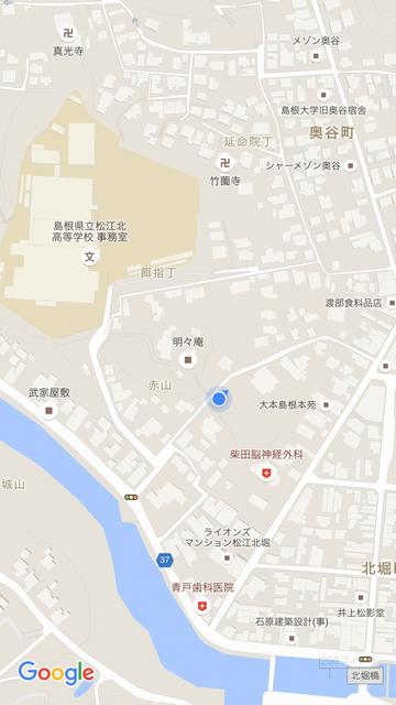 明々庵のGoogle Mapsの位置