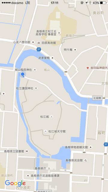 松江城横断の地図