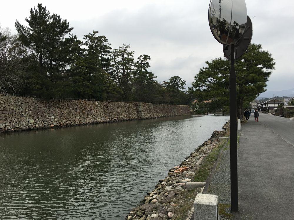 松江城の堀沿いの散歩