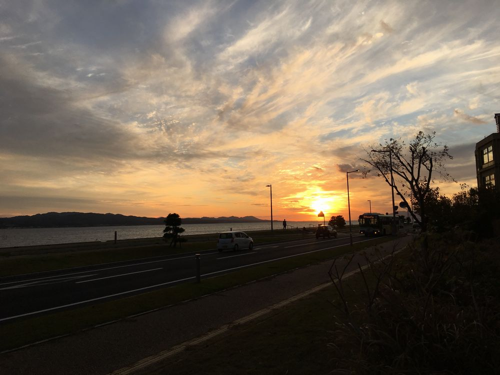宍道湖に沈む夕日