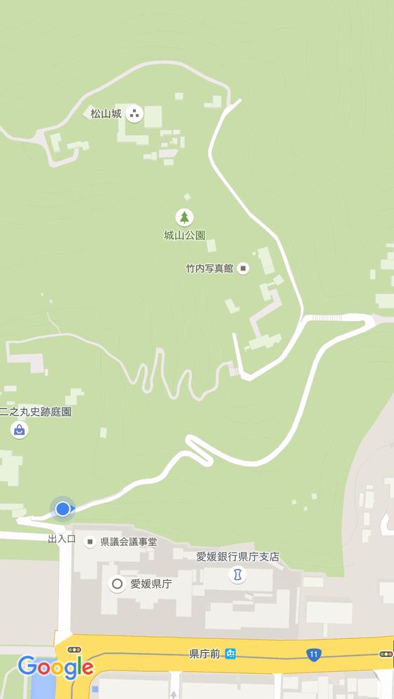 松山城県庁裏登城道の入口の位置