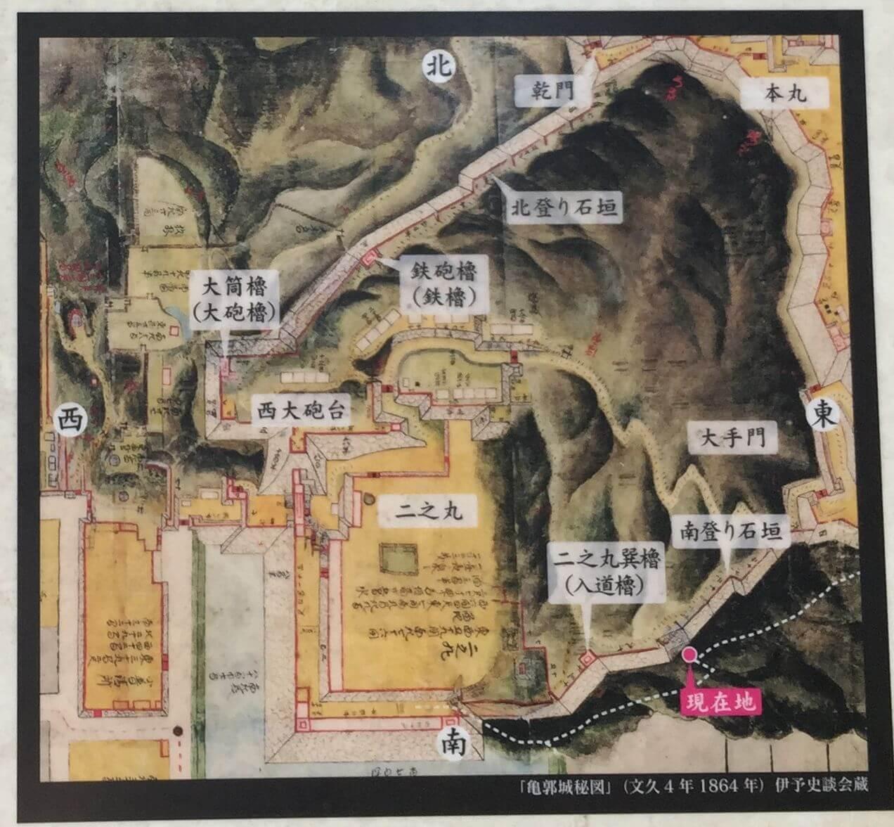 松山城の登り石垣の地図