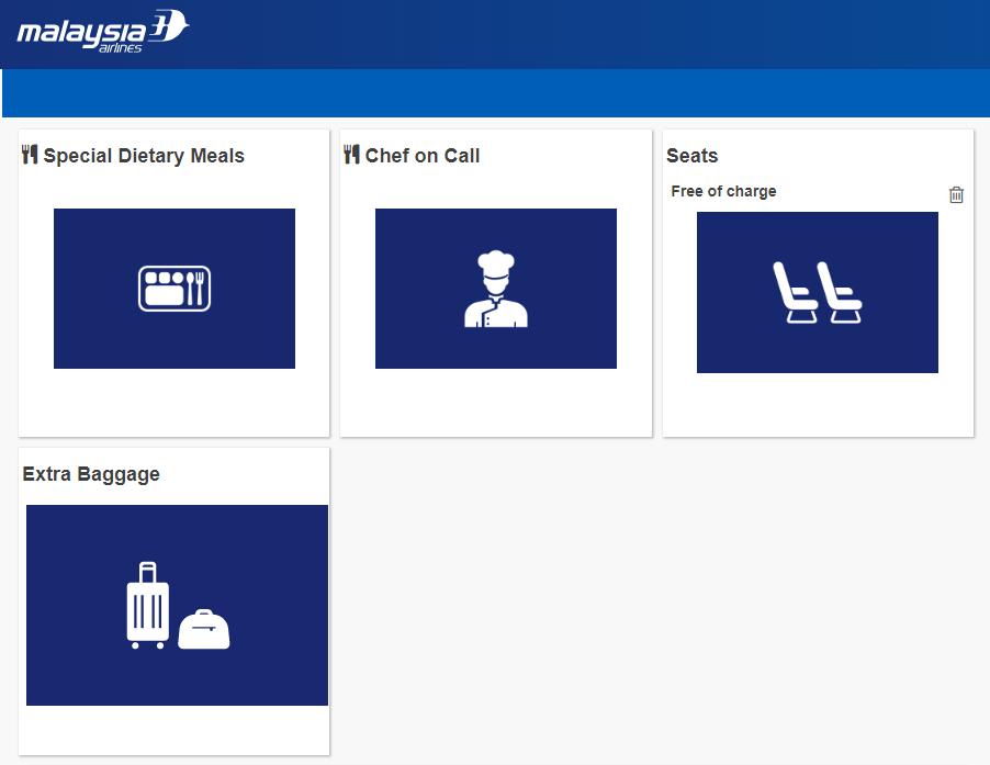 マレーシア航空の成田-クアラルンプールのビジネススイートの機内食事前指定1