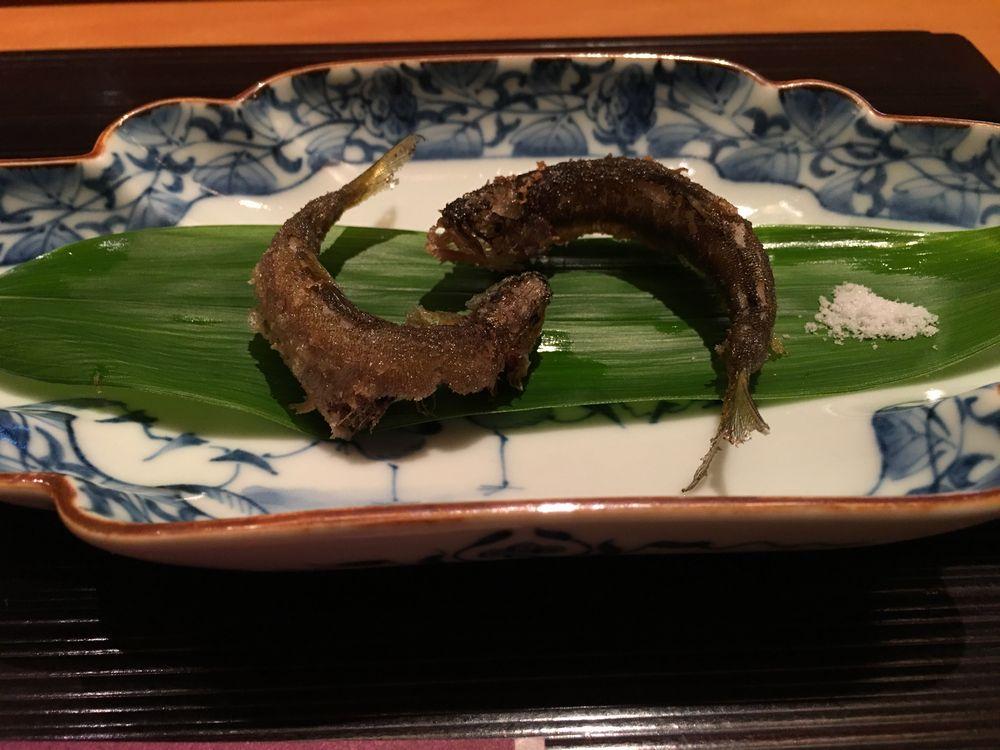 一心鮨光洋の稚鮎のフライ