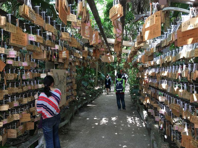 青島神社の絵馬のアーチ