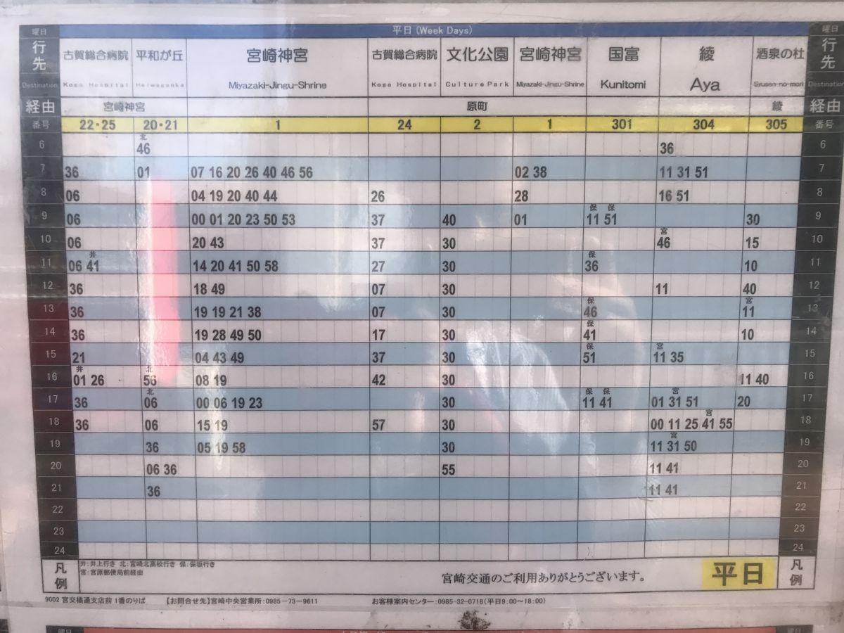 宮交橘通支店前のバス時刻表